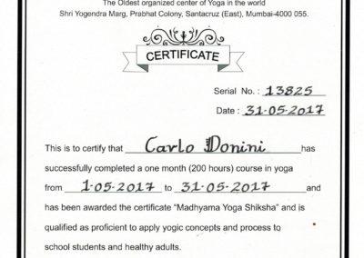 Certificato Yoga TYI